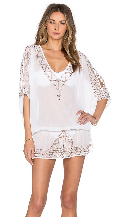 ale by alessandra Embroidered Tunic Cover Up in White