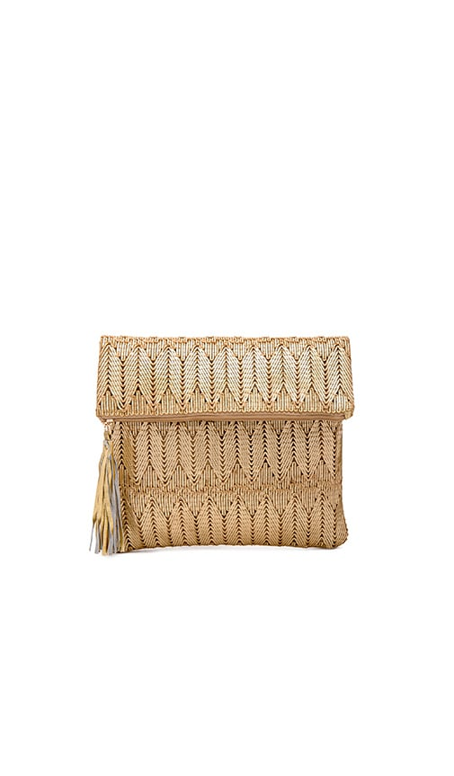 ale by alessandra La Pluma Clutch in Metallic Gold