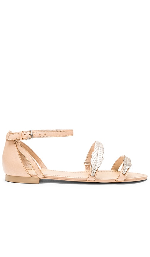 ale by alessandra Pressed Leather Feather Sandal in Nude & Gold