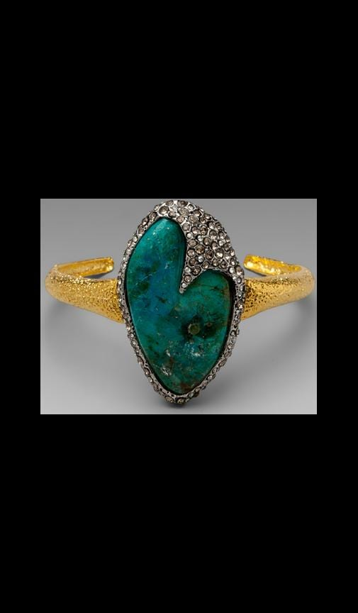 Cordova Gold & Antique Rhodium Single Chrysocolla Cuff