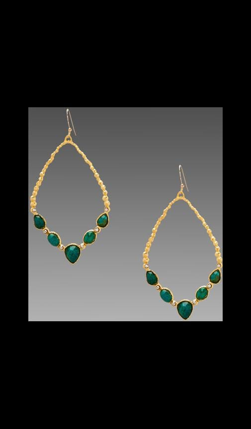 Cordova Gold Small Chrysocolla Tear Link Earring
