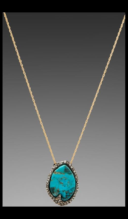 Cordova Gold & Antique Rhodium Small Turquoise Pendant