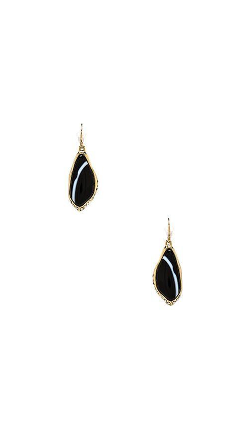 Custom Cut Black Banded Agate Drop Earring