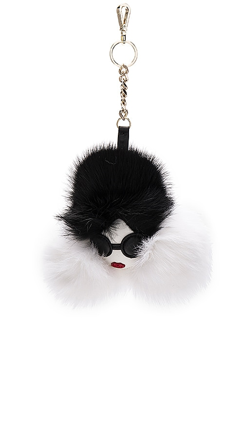 Alice + Olivia Stace Face Rabbit Fur Charm in Black & White