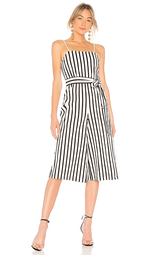 Alice + Olivia Lucie Gaucho Jumpsuit in Black & White