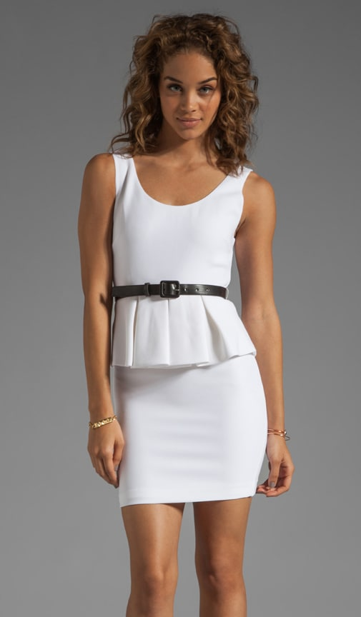 Moria Sleeveless Peplum Mini Dress with Belt