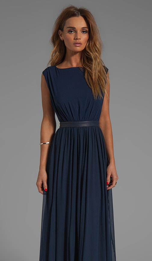 Triss Sleeveless Maxi Dress with Leather Trim