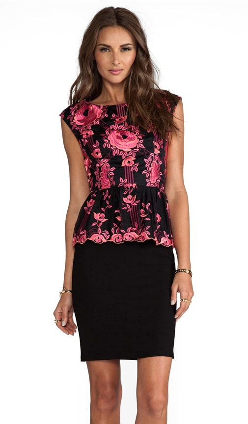 Shovan Lace Detail Peplum Dress