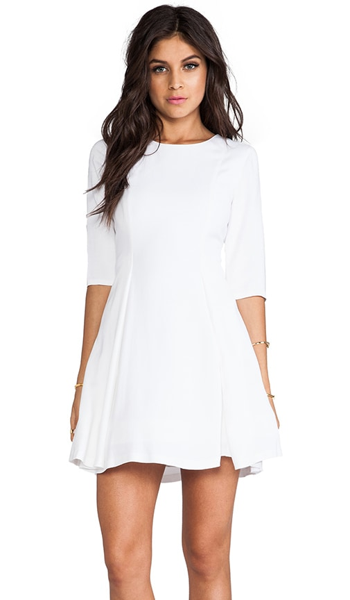 Zoisa 3/4 Sleeve Pleated Flare Dress