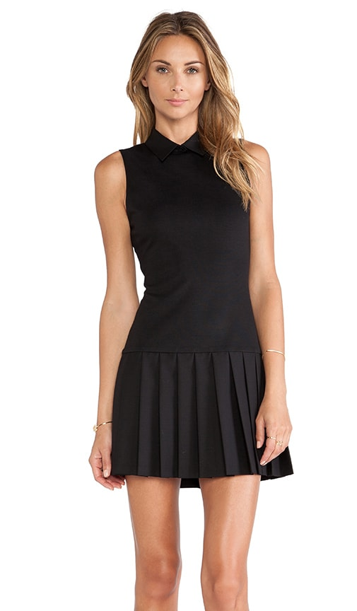 Collared Pleated Drop Waist Dress