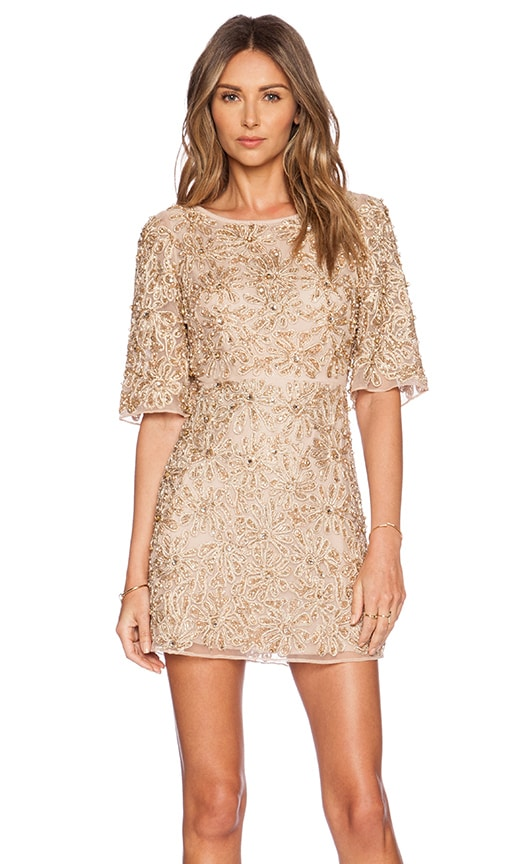 6db1b7c931 Alice + Olivia Drina Embellished Dress in Nude & Rose Gold   REVOLVE