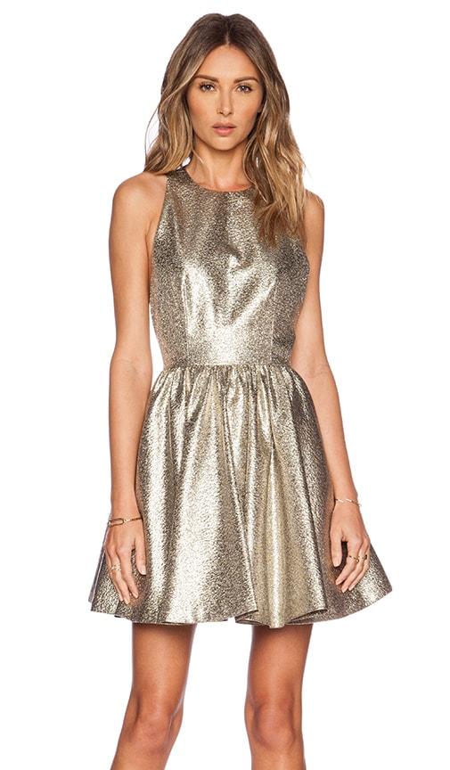 Alice + Olivia Tevin Racerback Dress in Metallic