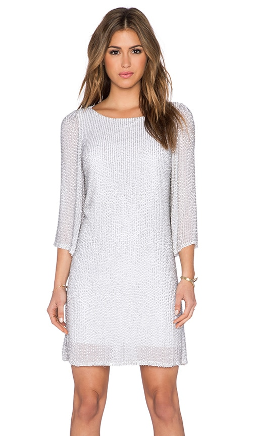 Alice + Olivia Mira Embellished Shift Dress in White & Pale Silver