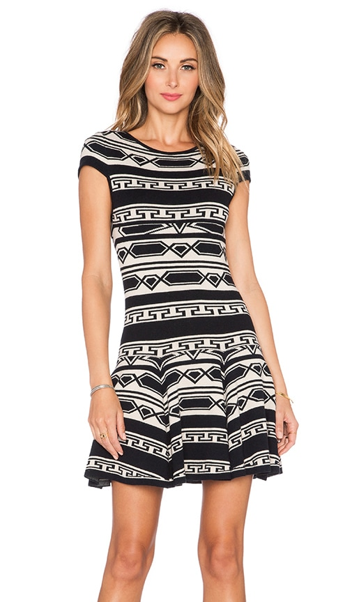 Alice + Olivia Darby Knit Dress in Black & Oatmeal