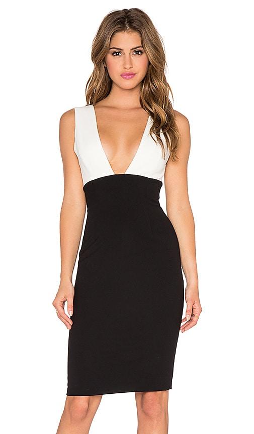 Alice + Olivia Esmira Fitted V Neck Dress in Cream & Black
