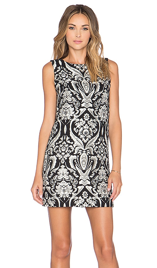Alice + Olivia Clyde A-Line Shift Dress in Black & White