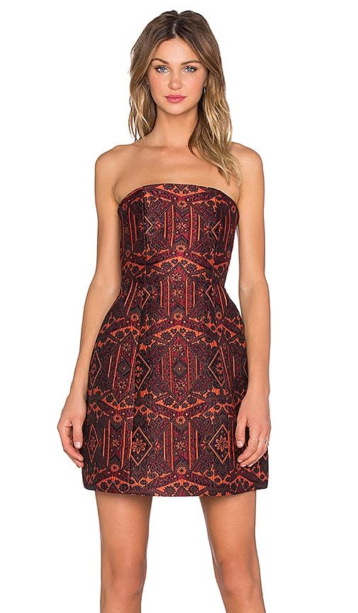 Alice + Olivia Nikki Structured Strapless Dress in Orange Multi