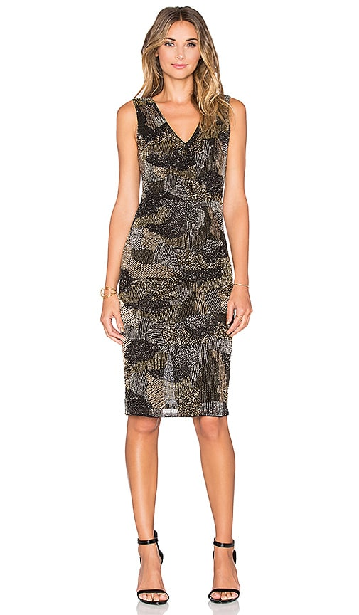 Alice + Olivia Perla Dress in Metallic Gold