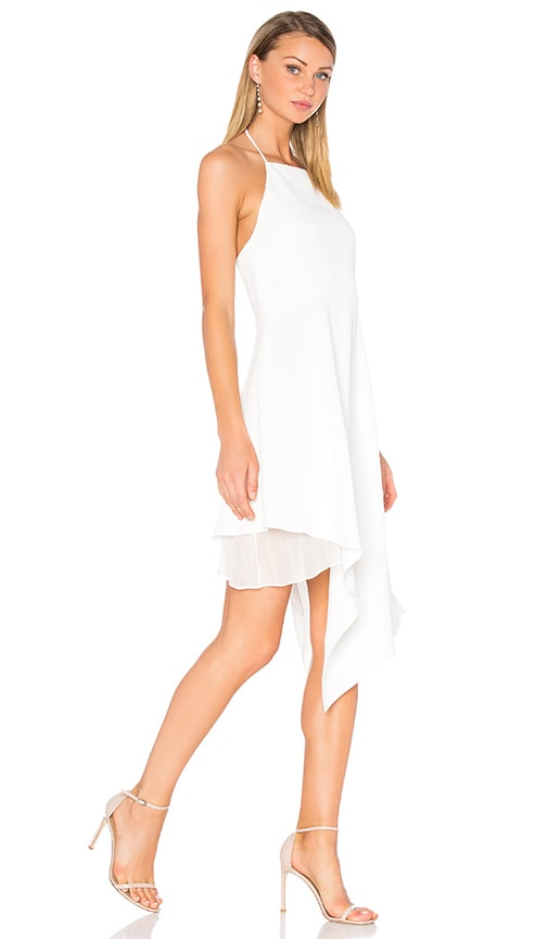 Alice + Olivia Bennie Asymmetric Dress in White