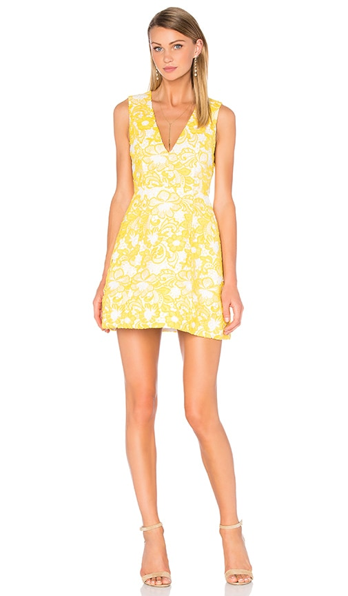 Alice + Olivia Pacey Embroidered Dress in Yellow