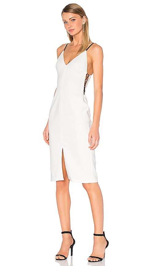 Alice + Olivia Sofie Lace Up Side Dress in White