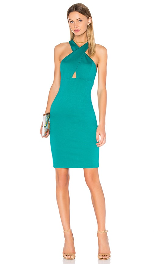 Alice + Olivia Tai Cross Front Midi Dress in Green