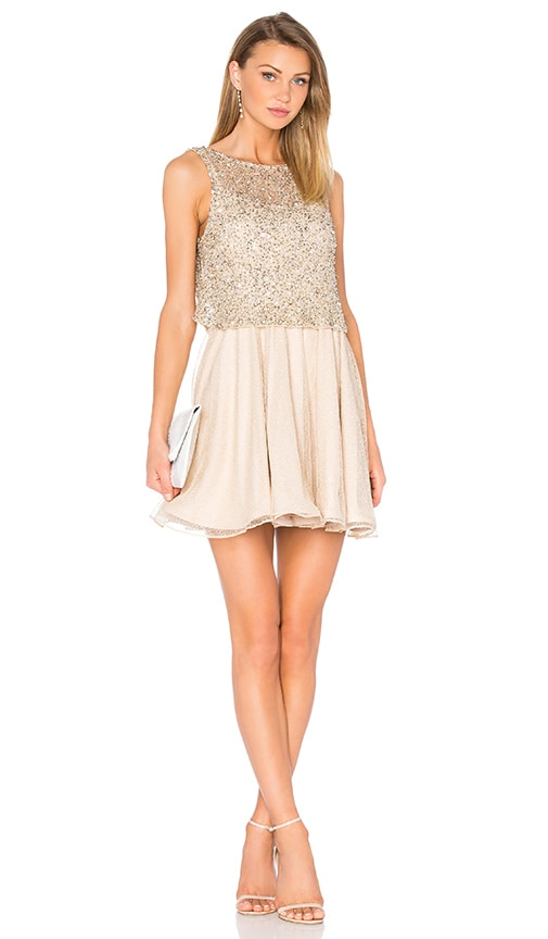 Alice + Olivia Hilta Flare Dress in Metallic Gold