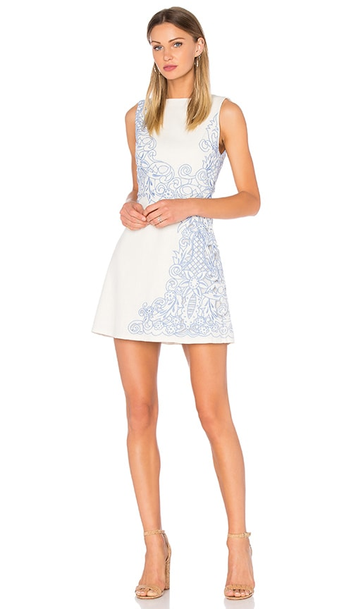 Alice + Olivia Malin Embroidered Dress in Ivory