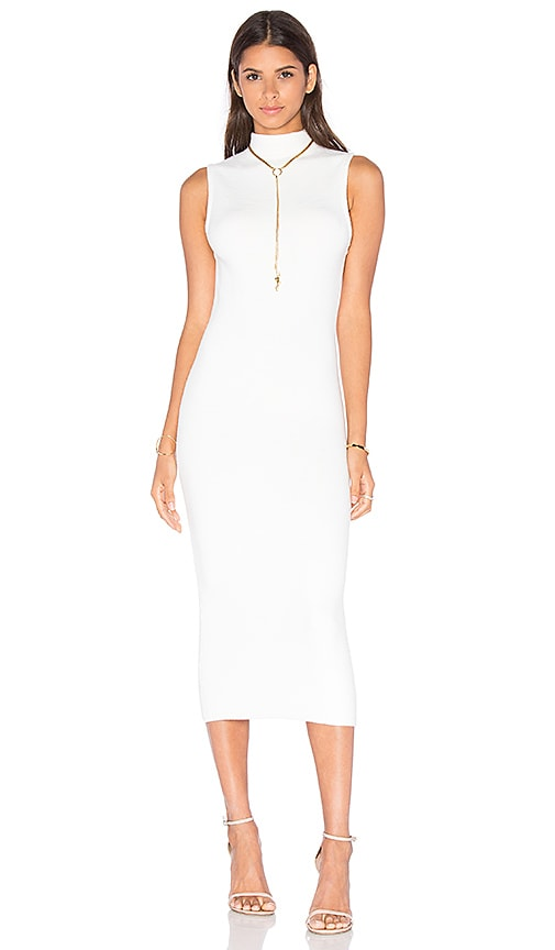Alice + Olivia Hana Mock Neck Midi Dress in White