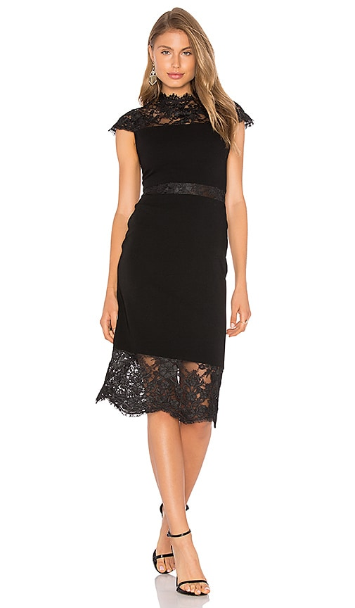 Alice + Olivia Kim Lace Midi Dress in Black