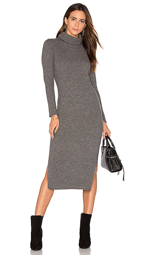 Alice + Olivia Gwen Rib Midi Dress in Grey