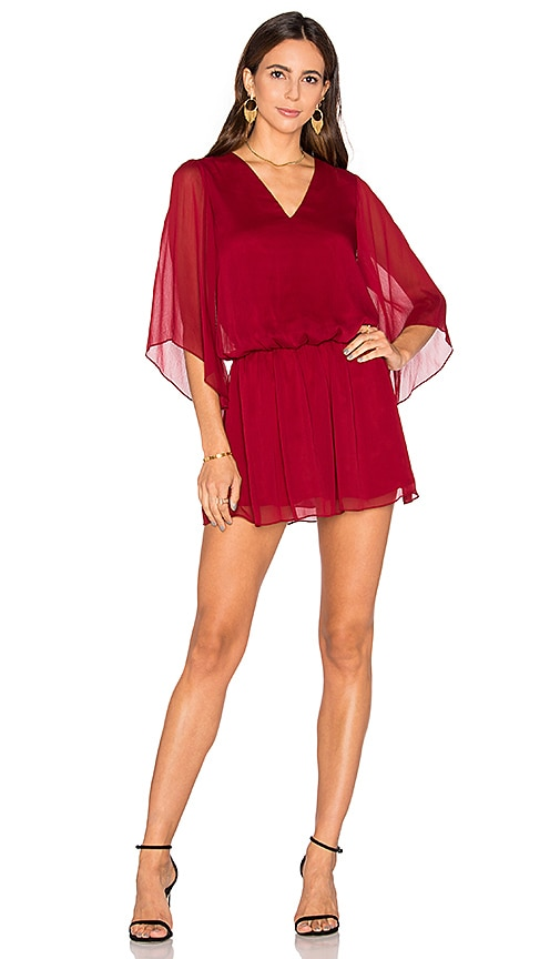 Alice + Olivia Lyla Blouse Dress in Red