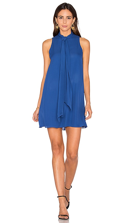Alice + Olivia Cassidy Tie Neck Mini Dress in Blue