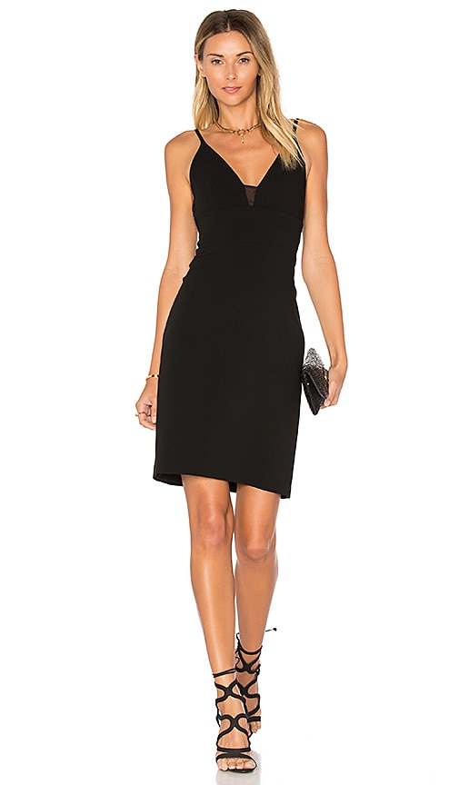 Alice + Olivia Jean Lace Insert Dress in Black