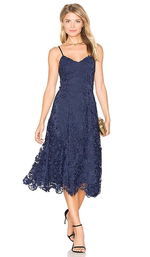Alice + Olivia Naomi Flare Dress in Blue
