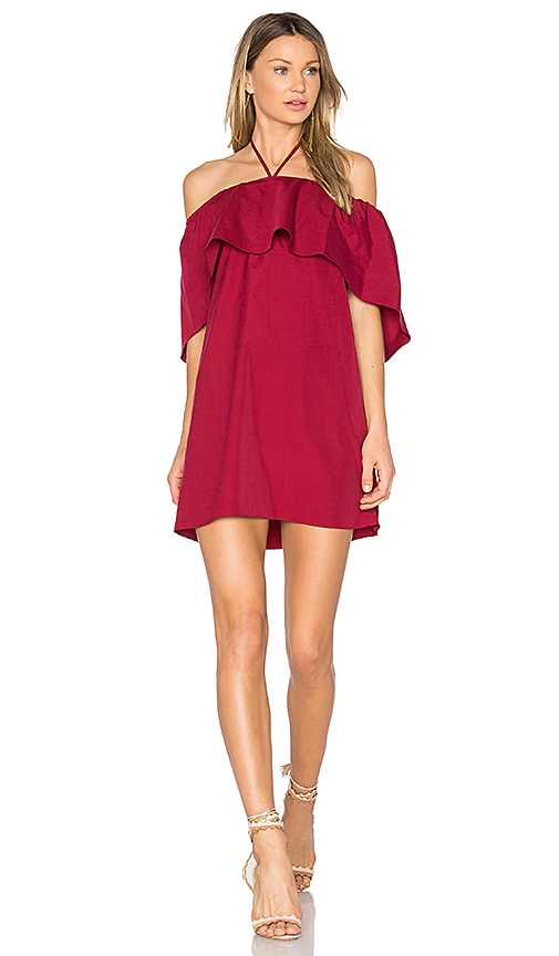 Alice + Olivia Jada Caped Dress in Red