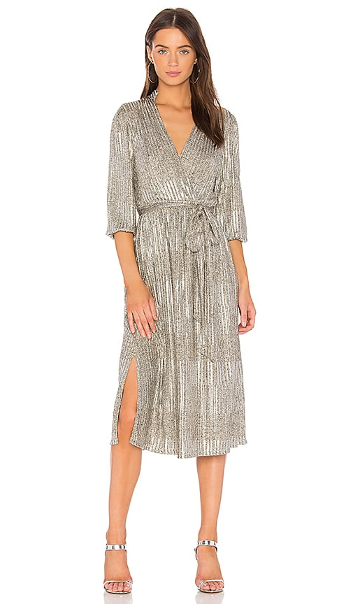 Alice + Olivia Katina Wrap Dress in Metallic Gold