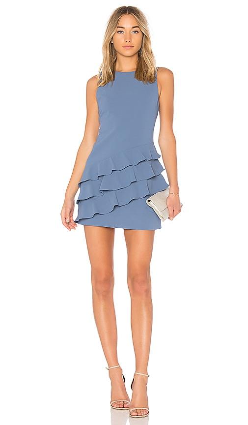 Alice + Olivia Clive Asymmetric Ruffle Dress in Blue