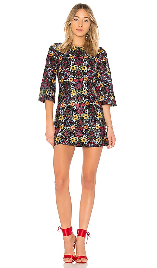 Alice + Olivia Coley Embroidered Bell Sleeve Dress in Black