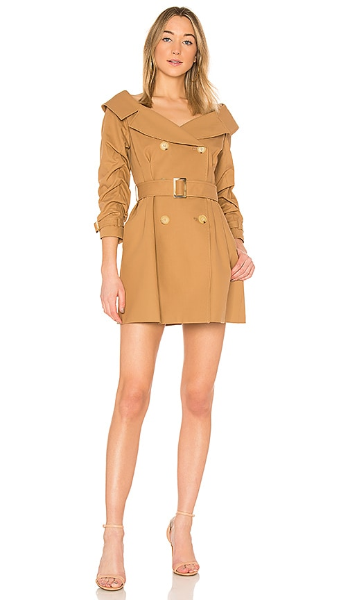 Alice + Olivia Candace Trench Coat Dress in Tan