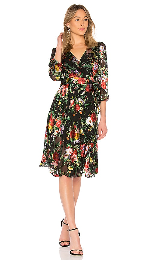 Alice + Olivia Abney Wrap Dress in Black