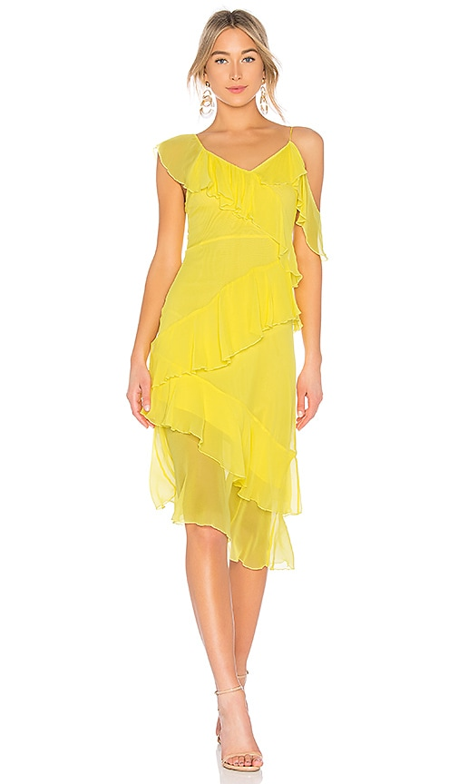 Olympia Cold-shoulder Ruffled Silk-chiffon Midi Dress - Bright yellow Alice & Olivia Discount Low Shipping Fee Brand New Unisex 6wBvq