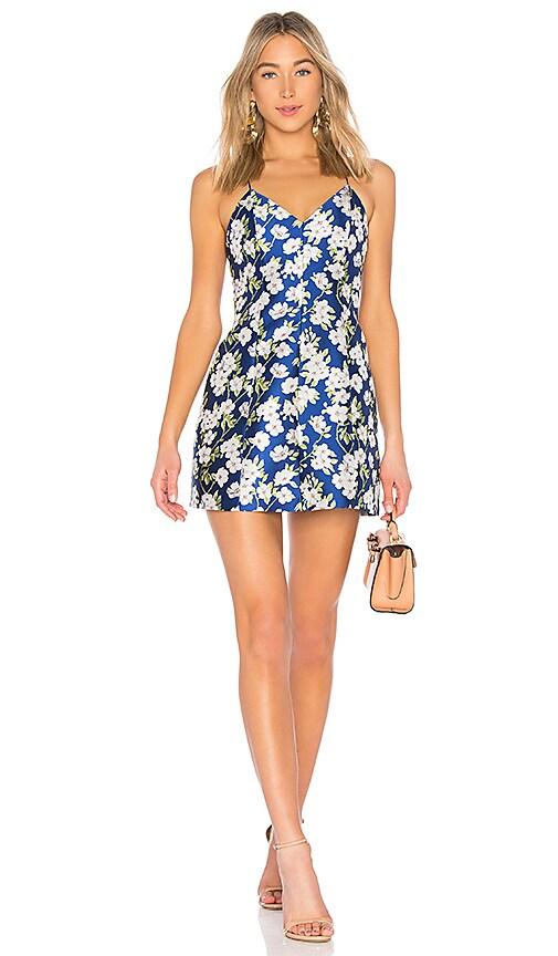 Alice + Olivia Tayla Lantern Mini Dress in Blue