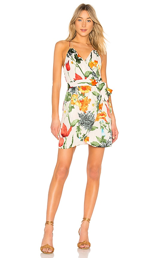 Alice + Olivia Susana Mini wrap Dress in White