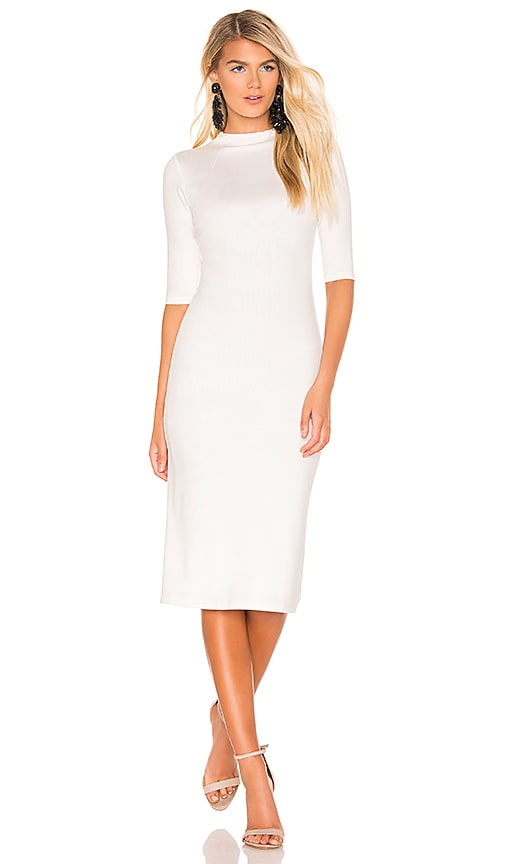 Alice Olivia Delora Fitted Mock Neck Dress In Off White