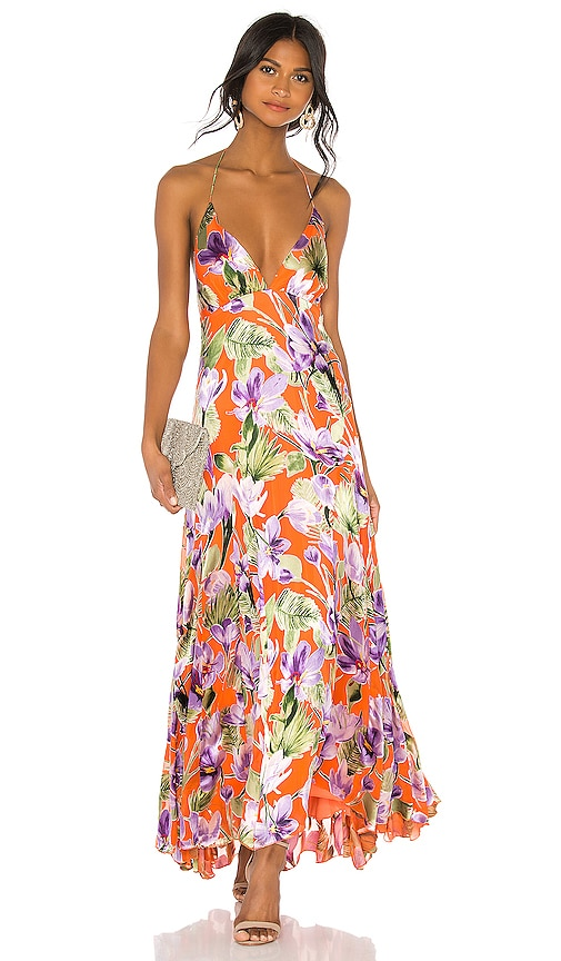 82914881c09b Alice + Olivia Hetty Halter Neck Maxi Dress in Floral Palm Coral ...
