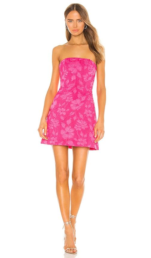 Alice + Olivia Perla Boned Strapless Pleated Dress in Wild Pink | REVOLVE