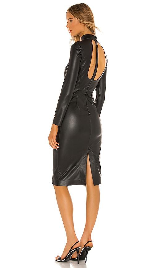 Alice + Olivia Delora Vegan Leather Mock Neck Open Back Dress
