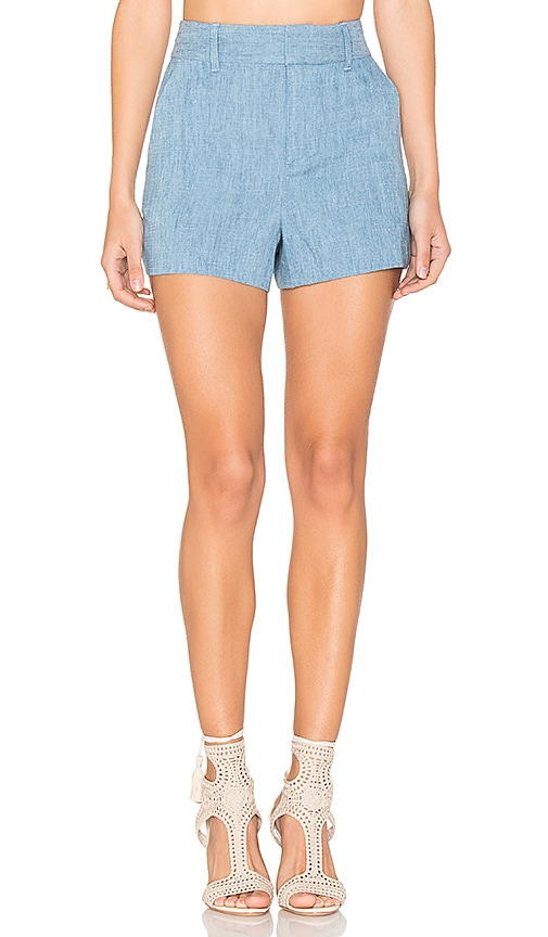 Alice + Olivia Deacon High Waisted Shorts in Blue