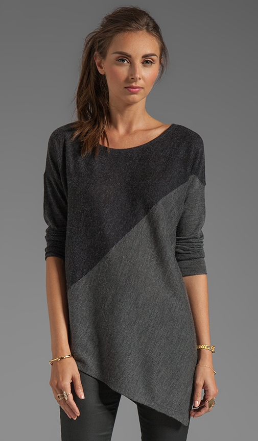 Color Blocked Bias Boxy Pullover